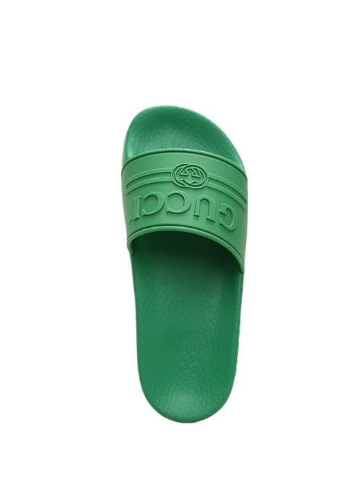 Yeşil Kabartmalı Logolu Unisex Çocuk Terlik