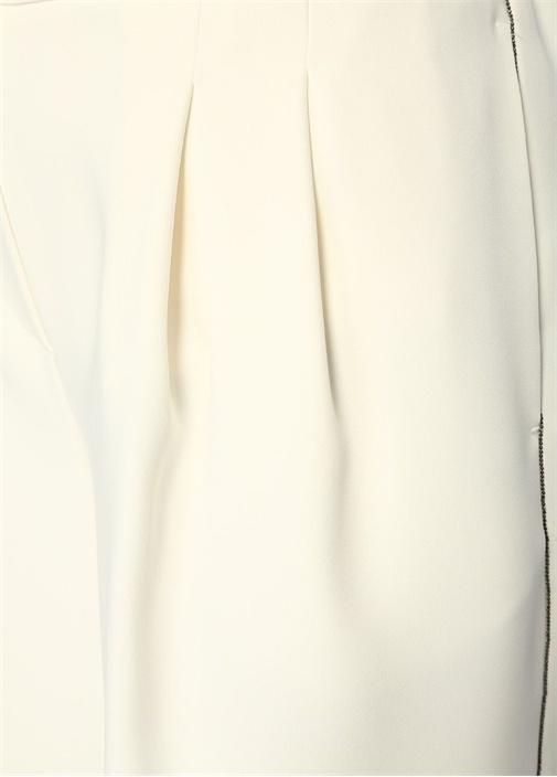 Ekru Yüksek Bel Zincir Şeritli Pileli Krep Şort