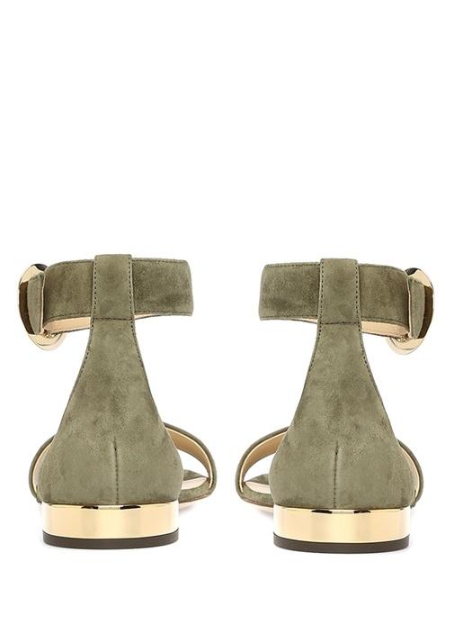 Jamie Haki Topuk Detaylı Kadın Süet Sandalet