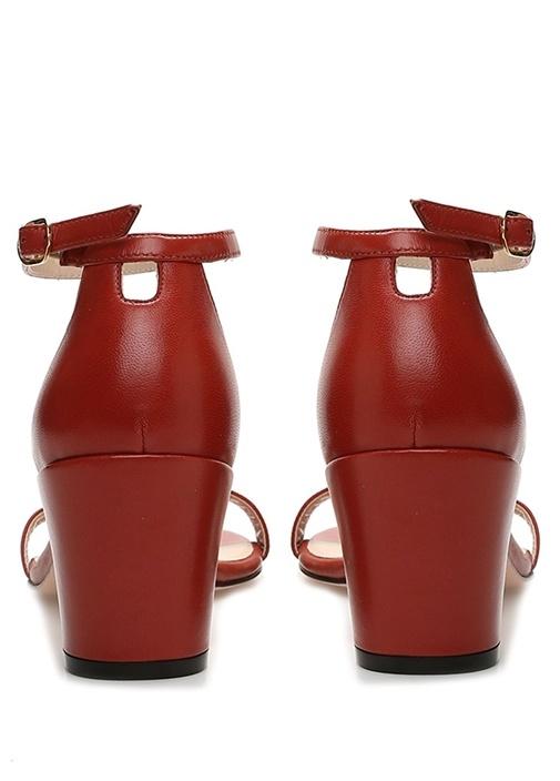 Simple Kiremit Kadın Topuklu Deri Sandalet