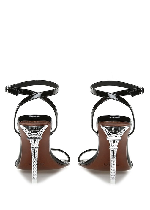 Eiffel Tower Siyah Topuklu Rugan Sandalet