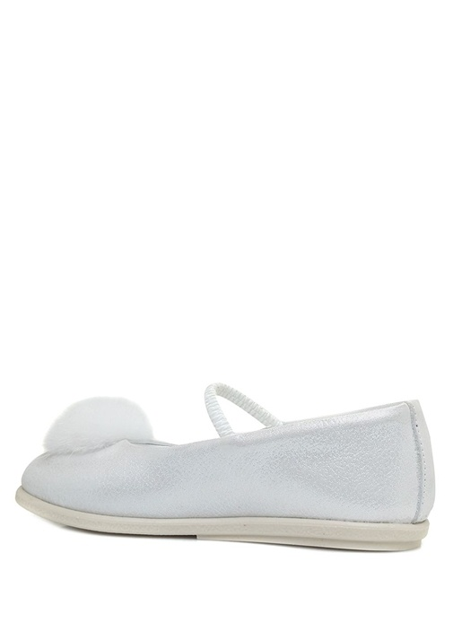 Beyaz Yıldız Patchli Kız Bebek Deri Ayakkabı