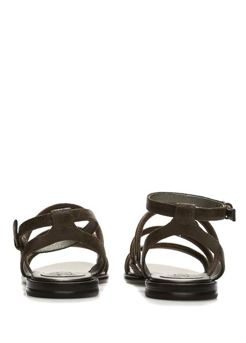 Haki Zincir Detaylı Kadın Deri Sandalet