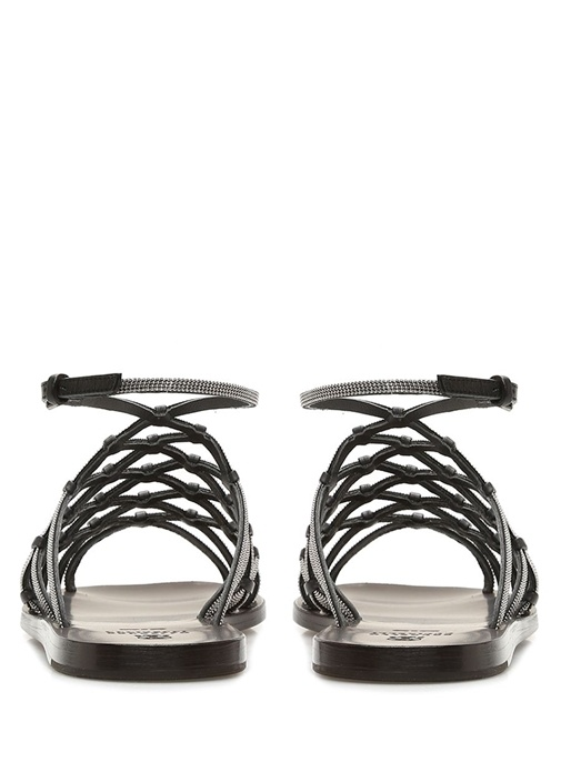 Kahverengi Kafes Bantlı Kadın Deri Sandalet