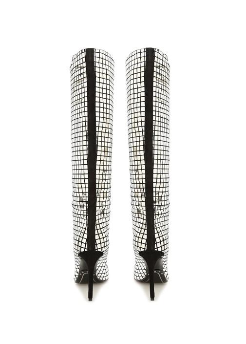 Silver Ayna Efektli Kadın Deri Çizme