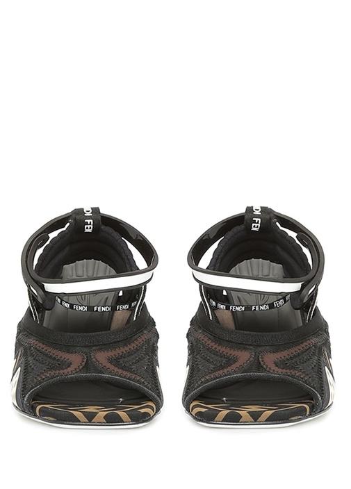 Kahverengi Logo Baskılı Kadın Sandalet
