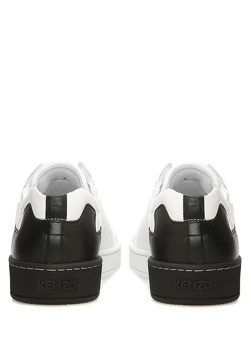 Tennix Beyaz Siyah Renk Detaylı Kadın Deri Sneaker
