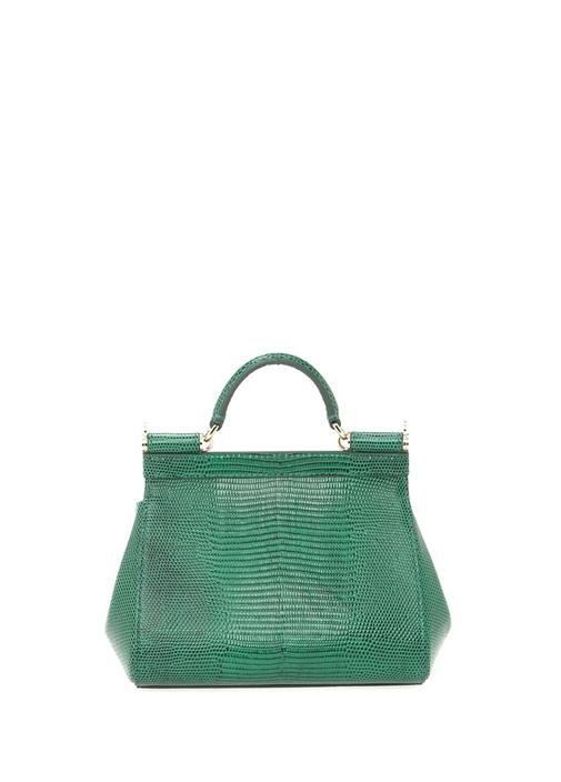 Small Sicily Yeşil Taşlı Logolu Kadın Deri Çanta