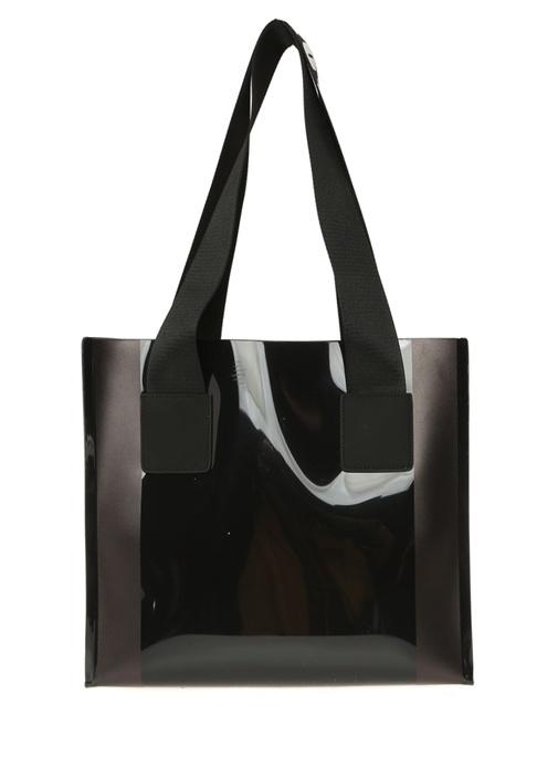 Street Siyah Logo Baskılı Alışveriş Çantası