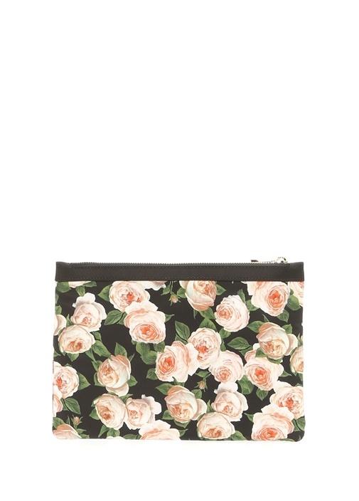 Siyah Çiçek Desenli Logolu Kadın El Portföyü