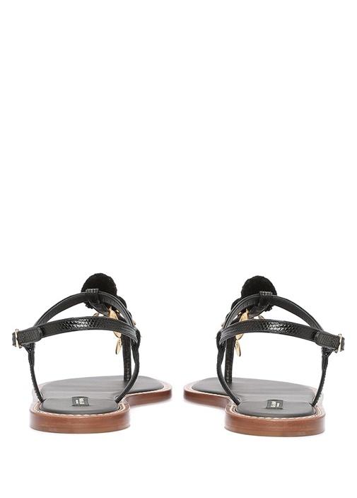 Siyah Ponponlu Gold Aksesuarlı Kadın Deri Sandalet