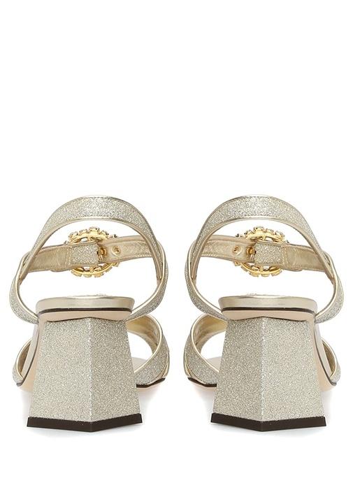 Gold Topuk Detaylı Kadın Deri Sandalet