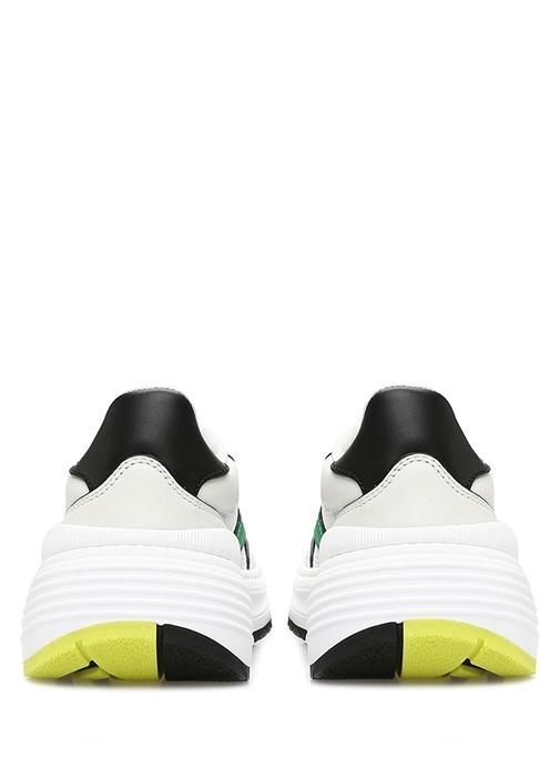 Beyaz Yeşil Şeritli Kadın Deri Sneaker