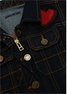 Polo Yaka Kontrast Dikişli Kız Çocuk Denim Ceket