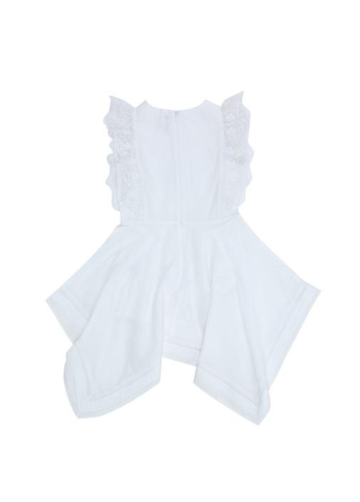 Beyaz Volanlı Fisto Detaylı Kız Çocuk Elbise