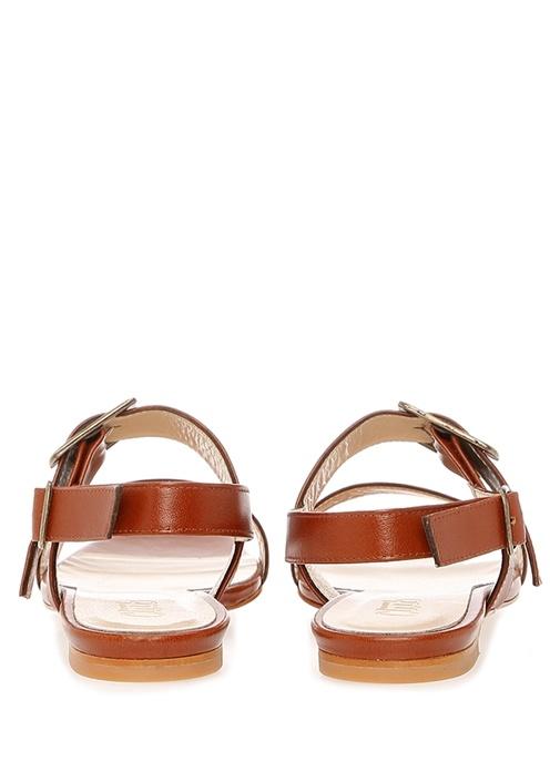 Taba Çift Kemerli Kadın Deri Sandalet