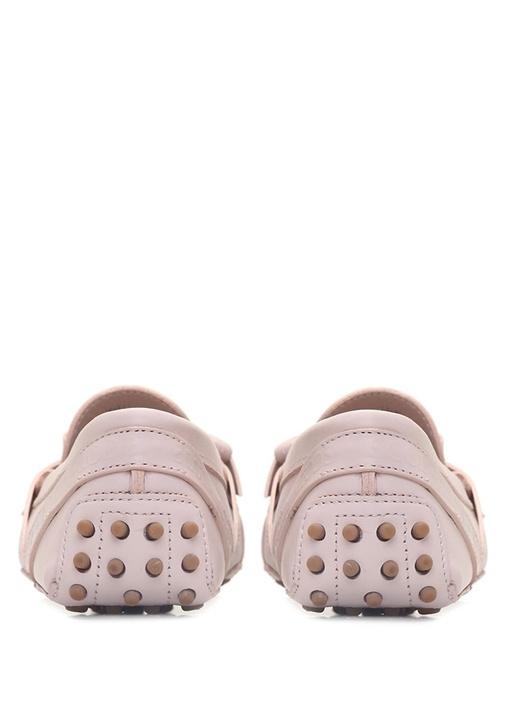 Pembe Logolu Fiyonk Detaylı Kadın Deri Loafer