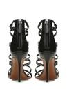 Siyah Lazer Kesim Kadın Deri Sandalet