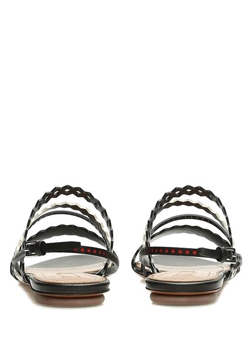 Siyah Beyaz Lazer Kesimli Kadın Deri Sandalet