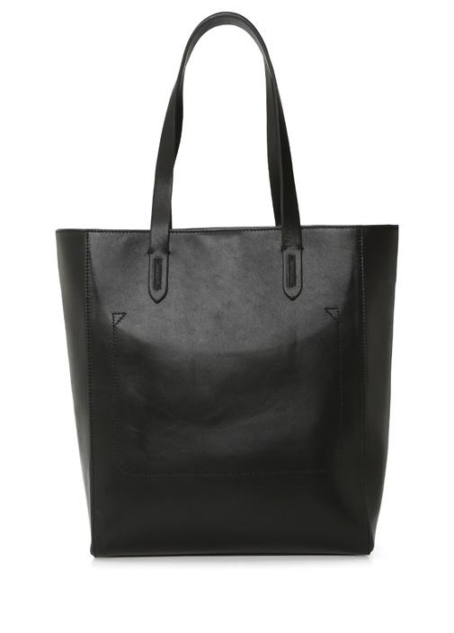 Siyah Logolu Kadın Deri Alışveriş Çantası
