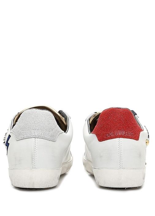 Beyaz Kalp Baskılı Troklu Kadın Deri Sneaker