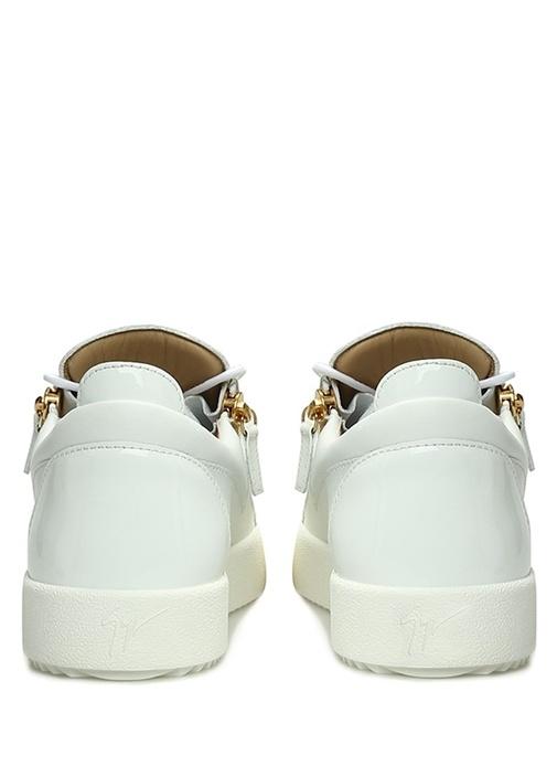 Frankie Beyaz Fermuar Detaylı Erkek Deri Sneaker