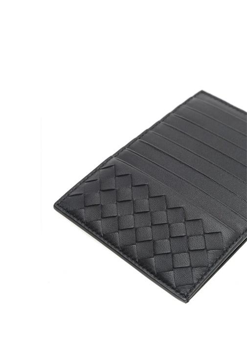 Siyah Örgü Doku Detaylı Erkek Deri Kartlık