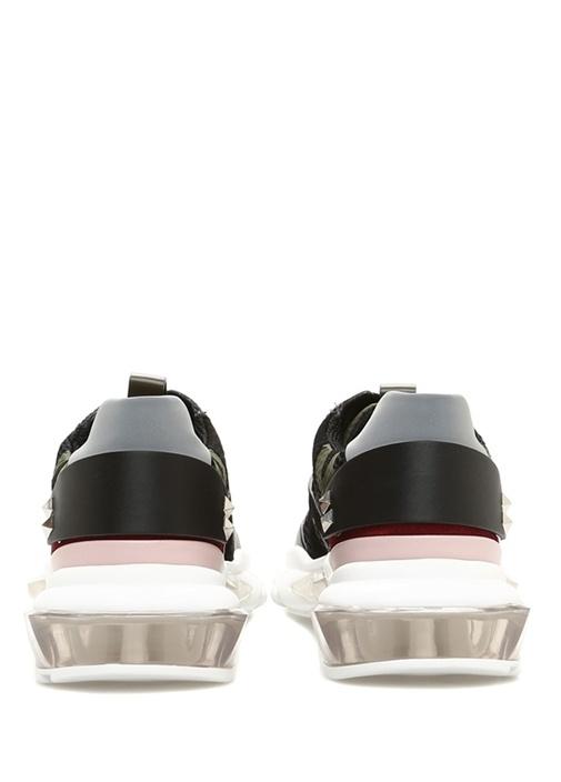 Bounce Siyah Kamuflaj Desenli Kadın Deri Sneaker