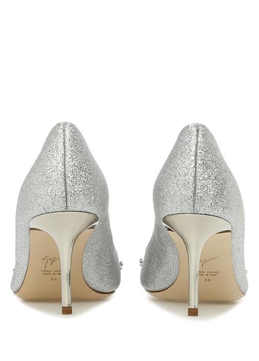 Silver Trok Detaylı Sim Dokulu Topuklu Ayakkabı