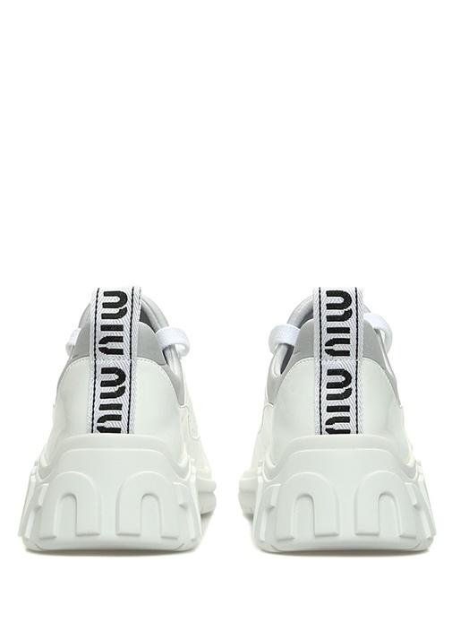 Beyaz Delik Detaylı Kadın Rugan Sneaker