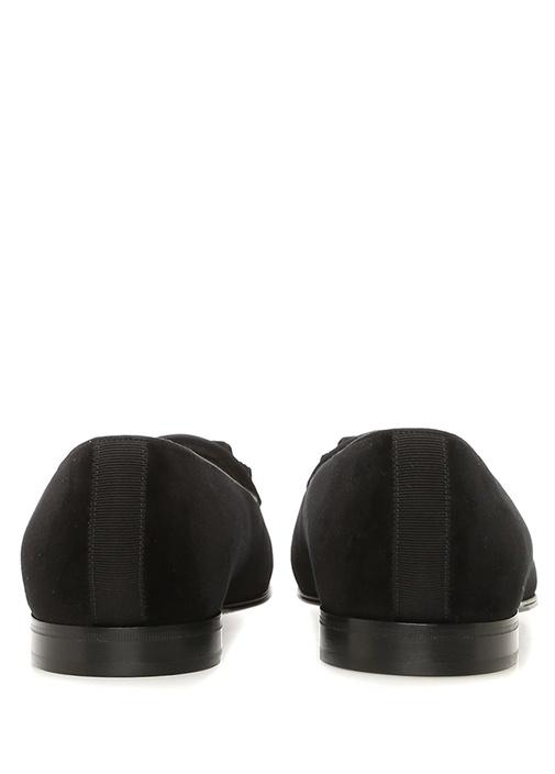 Siyah Fiyonklu Erkek Kadife Smokin Ayakkabısı