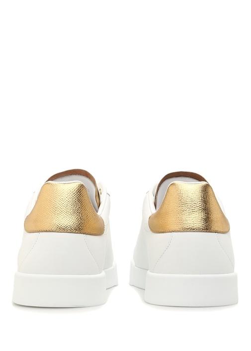 Portofino Beyaz Gold Logolu Erkek Deri Sneaker