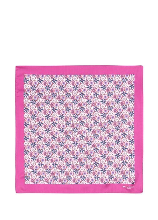 Pembe Mikro Çiçek Desenli İpek Poşet Mendil