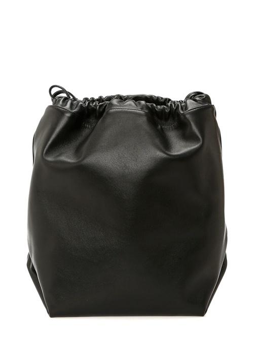 Teddy Siyah Logo Baskılı Kadın Büzgülü Deri Çanta