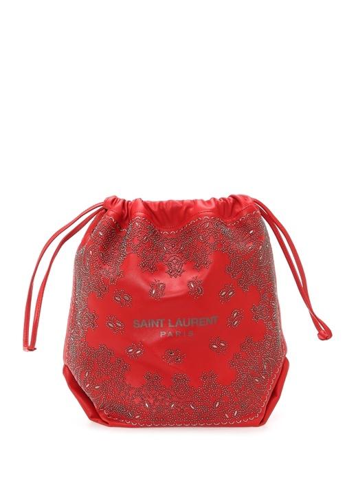 Teddy Kırmızı Trok İşlemeli Kadın Deri Çanta