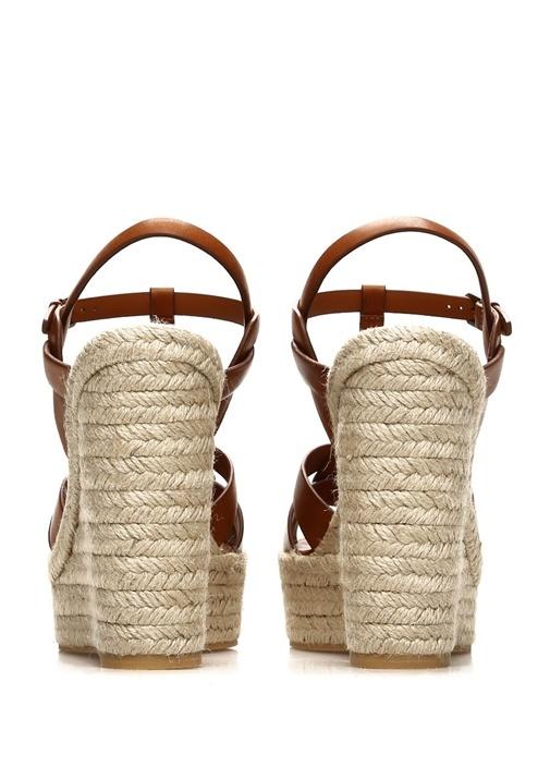 Taba İnce Bantlı Platformlu Kadın Deri Sandalet