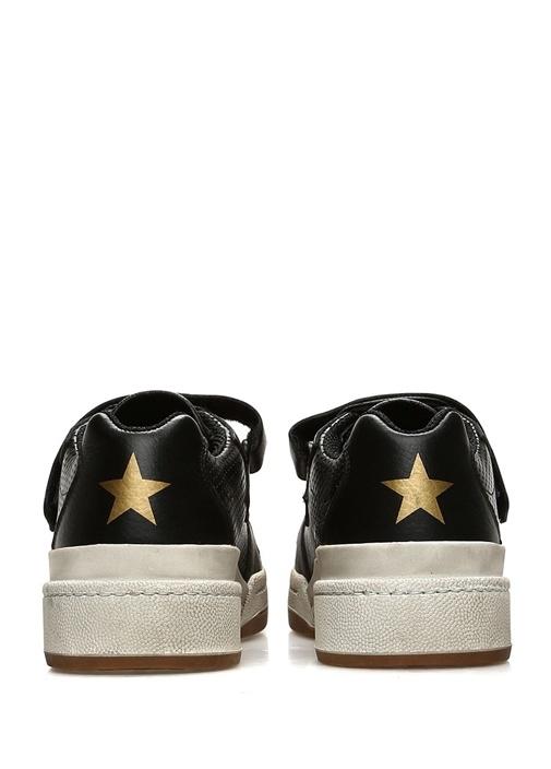 Siyah Desenli Yıldız Baskılı Kadın DeriSneaker