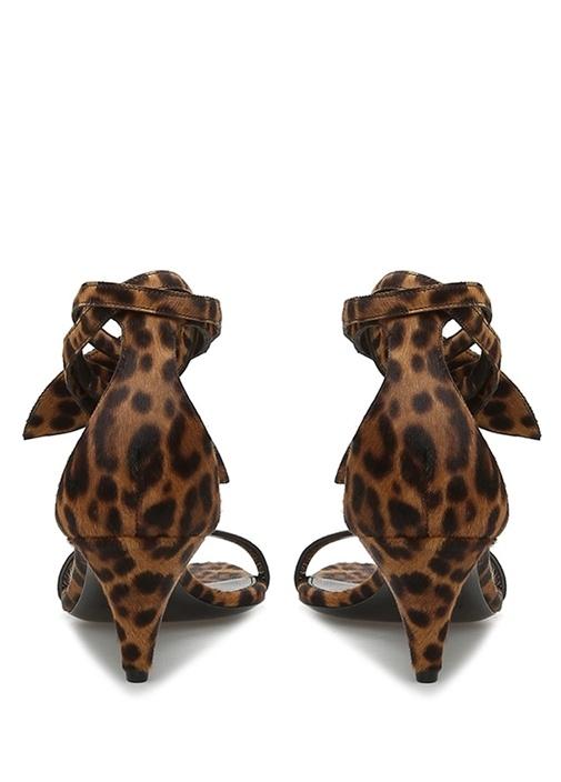 Charlotte Leoparlı Tüy Dokulu Kadın Deri Sandalet