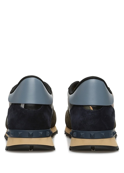 Haki Mavi Kamuflaj Desenli Erkek Sneaker