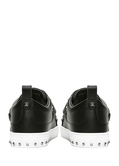 Siyah Kemer Detaylı Erkek Deri Sneaker