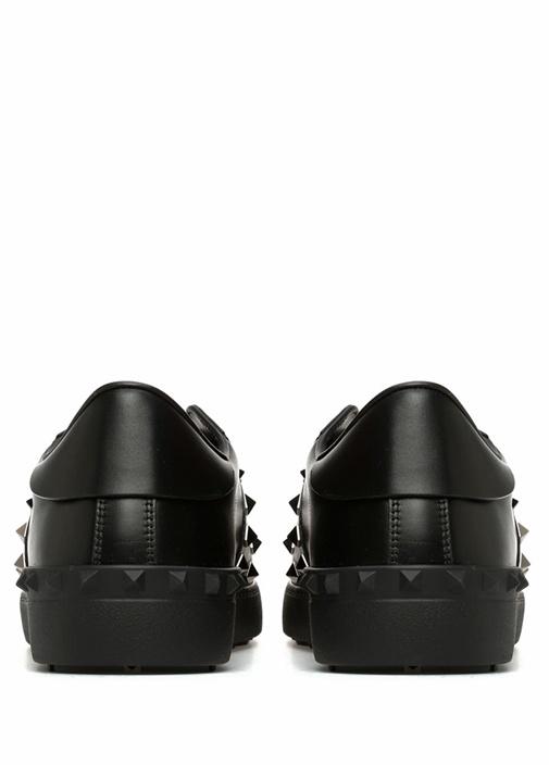 Open Siyah Logolu Erkek Deri Sneaker