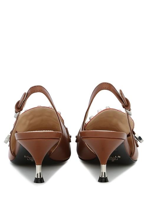 Taba Püskül Detaylı Troklu Kadın Deri Sandalet