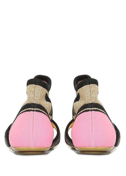 Gold Siyah Jakarlı Çorap Formlu Kadın Sandalet