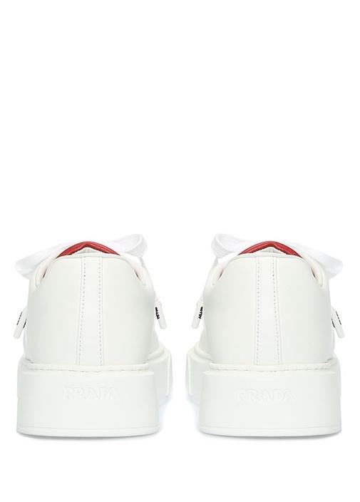 Beyaz Kırmızı Logo Detaylı Kadın Deri Sneaker