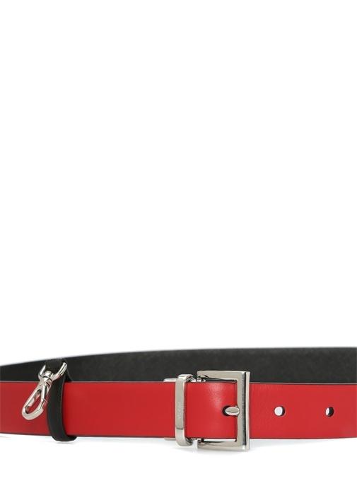 Siyah Çıkarılabilir Çanta Detaylı KadınDeri Kemer
