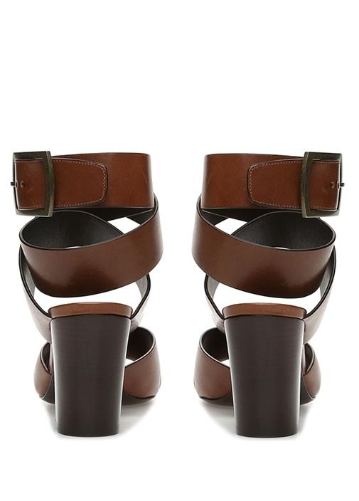 Kahverengi Bant Detaylı Kadın Deri Sandalet