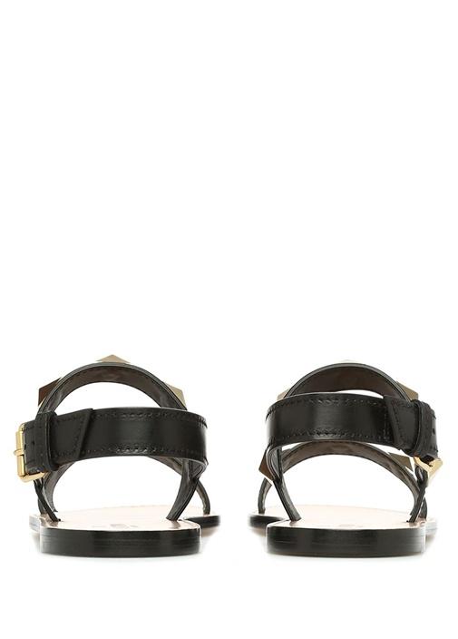 Siyah Çift Bantlı Kadın Deri Sandalet