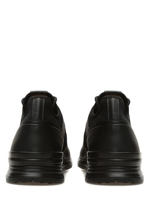 Siyah File Dokulu Desenli Erkek Deri Sneaker