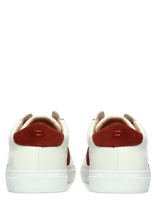 Beyaz Kırmızı Şerit Detaylı Erkek Deri Sneaker