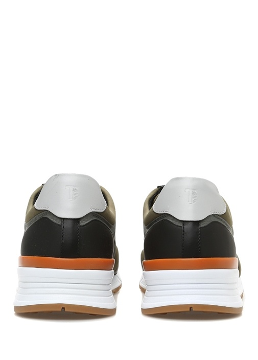 Gri Haki File Dokulu Logolu Erkek Sneaker